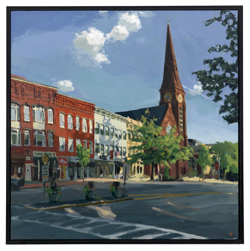 Downtown Northampton, oil painting by Mat Matera